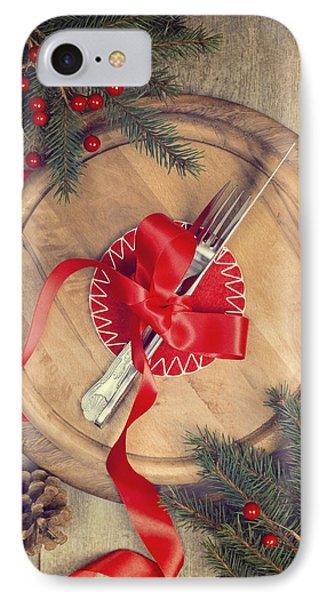 Christmas Table Setting Phone Case by Amanda Elwell