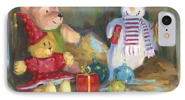 Christmas Teddy Bears IPhone Case by David Garrison