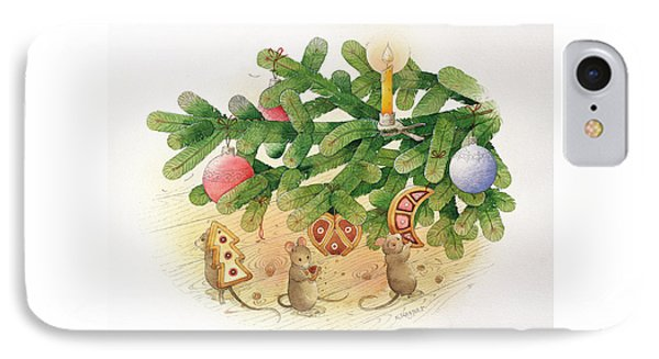 Christmas Tree And Mice IPhone Case by Kestutis Kasparavicius