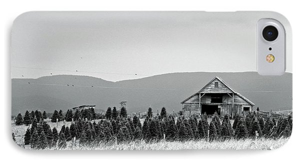 IPhone Case featuring the photograph Christmas Tree Farm - Bw by Eve Spring