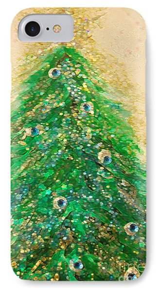 Christmas Tree Gold By Jrr IPhone Case by First Star Art