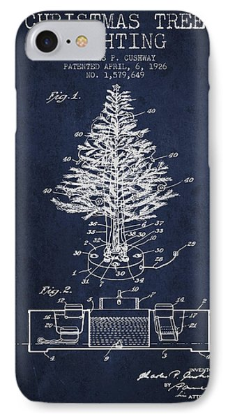 Christmas Tree Lighting Patent From 1926 - Navy Blue IPhone Case