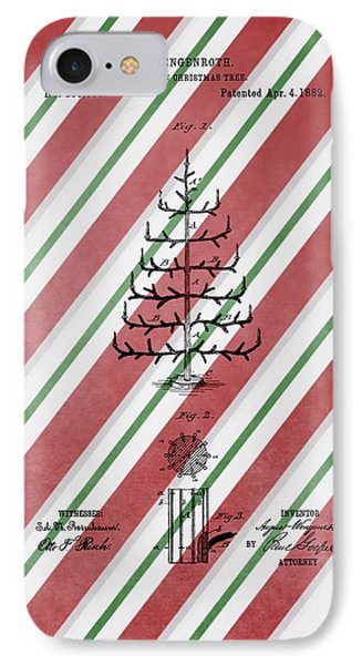 Christmas Tree Patent Candy Cane IPhone Case by Dan Sproul