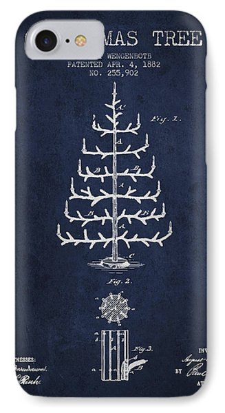 Christmas Tree Patent From 1882 - Navy Blue IPhone Case