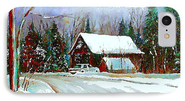 Christmas Trees Cozy Country Cabin Painting Winter Scene Quebec Painting Canadian Art Cspandau IPhone Case by Carole Spandau