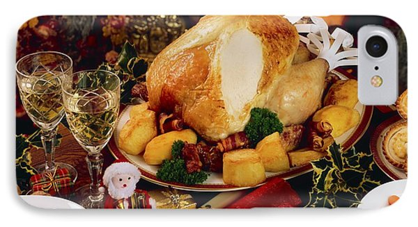 Christmas Turkey Dinner With Wine Phone Case by The Irish Image Collection