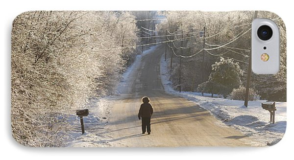 Christmas Walk In Maine Phone Case by Alan Holbrook