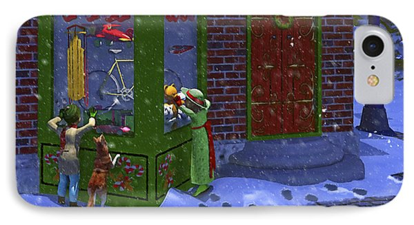 Christmas Window Shopping IPhone Case by Ken Morris