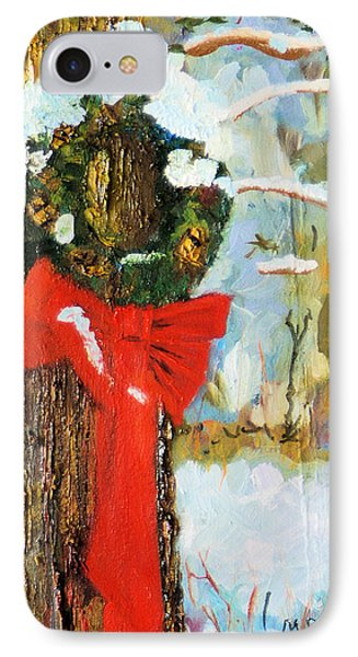 IPhone Case featuring the painting Christmas Wreath by Michael Daniels