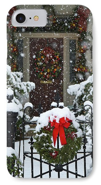 Christmas Wreaths And A Rare Holiday IPhone Case by William Sutton