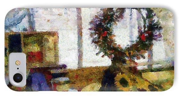 Christmastime Folk Art Fantasia IPhone Case by RC deWinter