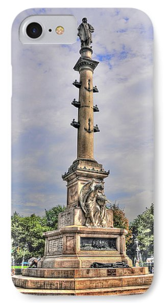 Christopher Columbus Monument At Columbus Circle In Manhattan Phone Case by Randy Aveille