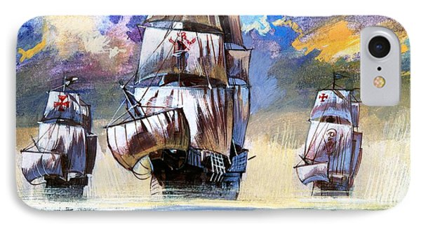 Christopher Columbus's Fleet  IPhone Case by English School