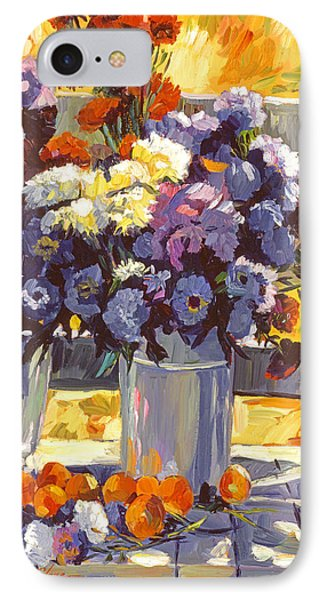 Chrysanthemums And Apricots 1986 IPhone Case by David Lloyd Glover