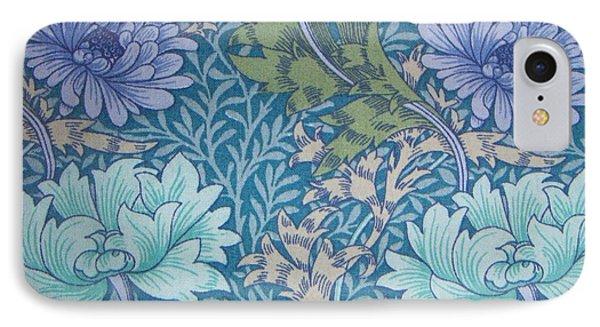 Chrysanthemums In Blue Phone Case by William Morris