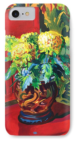 IPhone Case featuring the painting Chrysanthemums On Red Chair by Clyde Semler