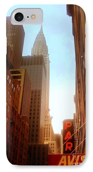 Chrysler Building Rises Above New York City Canyons Phone Case by Miriam Danar