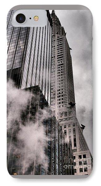 Chrysler Building With Gargoyles And Steam IPhone Case by Miriam Danar