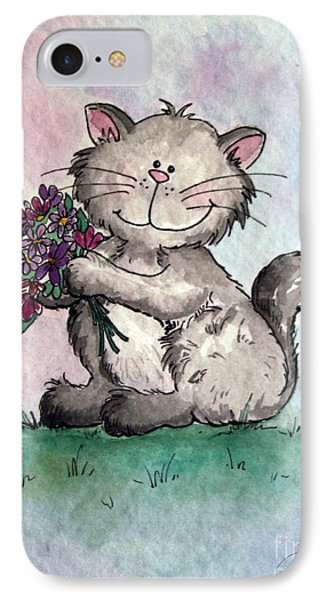 Chubby Kitty With Flowers IPhone Case by Dani Abbott