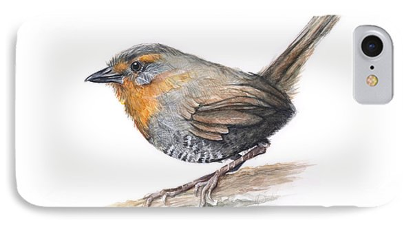 South America iPhone 7 Case - Chucao Tapaculo Watercolor by Olga Shvartsur