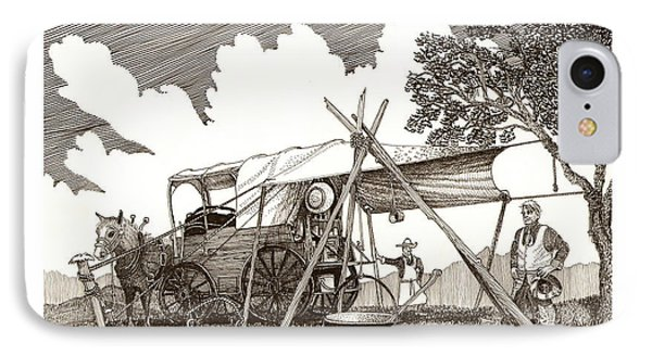 Chuckwagon Cattle Drive Breakfast Phone Case by Jack Pumphrey