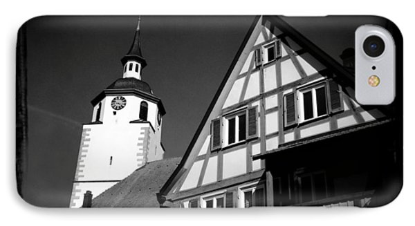 Church And Half-timbered House In Lovely Old Town IPhone Case by Matthias Hauser