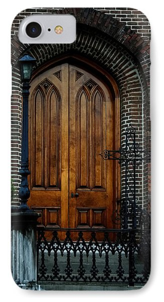 Church Arch And Wooden Door Architecture IPhone Case by Lesa Fine