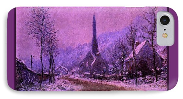 Church At Jeufosse Snowy Weather Enhanced Triple Border IPhone Case by Claude Monet - L Brown
