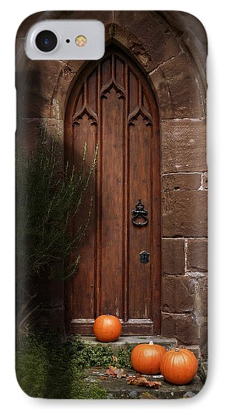 Church Door At Halloween Phone Case by Amanda Elwell