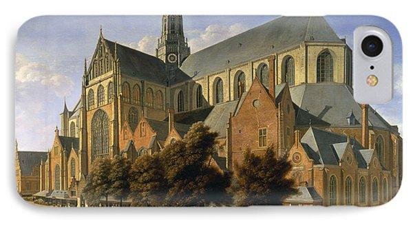 Harlem iPhone 7 Case - Church Of St. Bavo In Haarlem, 1666 Oil On Panel by Gerrit Adriaensz Berckheyde