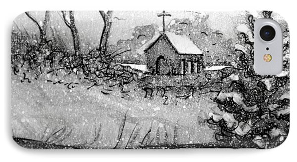 IPhone Case featuring the painting Church Snow Scene by Gretchen Allen