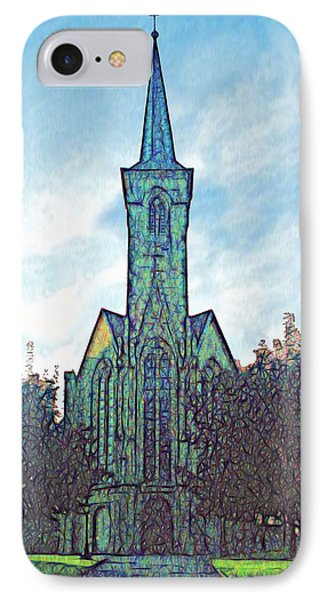 IPhone Case featuring the digital art Church Steeple At Sunrise by Dennis Lundell