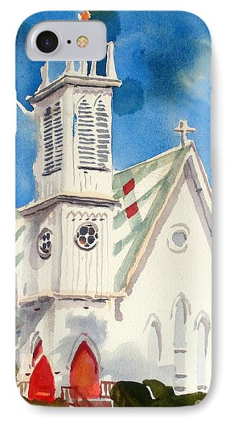 Church With Jet Contrail Phone Case by Kip DeVore