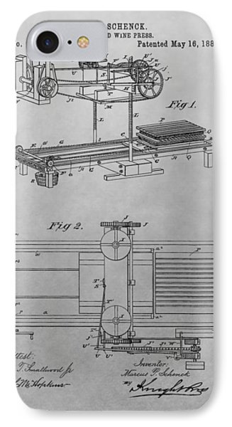 Cider And Wine Press Patent Drawing IPhone Case
