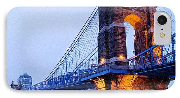 Cincinnati And Robeling Suspension Bridge At Twilight IPhone Case by Tanya Harrison