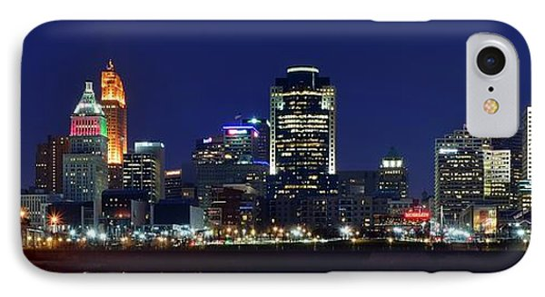 Cincinnati Blue Hour Panorama IPhone Case by Frozen in Time Fine Art Photography