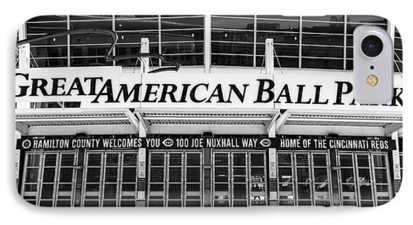Cincinnati Great American Ball Park Black And White Picture IPhone Case by Paul Velgos