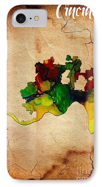 Cincinnati Map Watercolor IPhone Case
