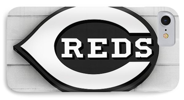 Cincinnati Reds Sign Black And White Picture Phone Case by Paul Velgos