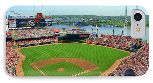 Cincinnati Reds Stadium IPhone Case by Kathy Barney
