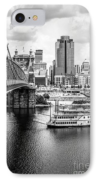 Cincinnati Riverfront Black And White Picture Phone Case by Paul Velgos