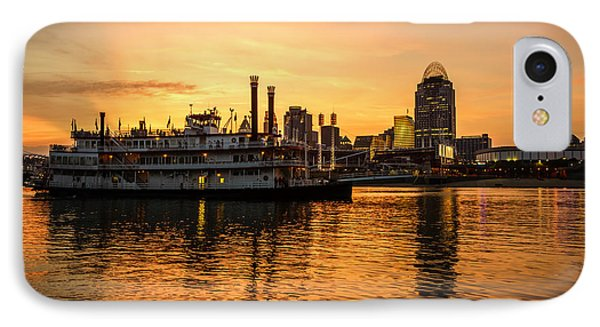 Cincinnati Skyline And Riverboat At Sunset IPhone Case by Paul Velgos