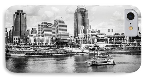 Cincinnati Skyline And Riverboat Black And White Picture IPhone Case