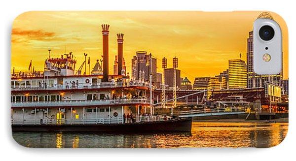 Cincinnati Skyline And Riverboat Panorama Photo IPhone Case by Paul Velgos