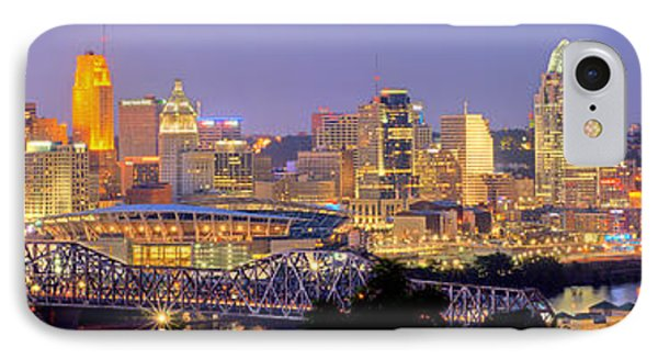 IPhone Case featuring the photograph Cincinnati Skyline At Dusk Sunset Color Panorama Ohio by Jon Holiday