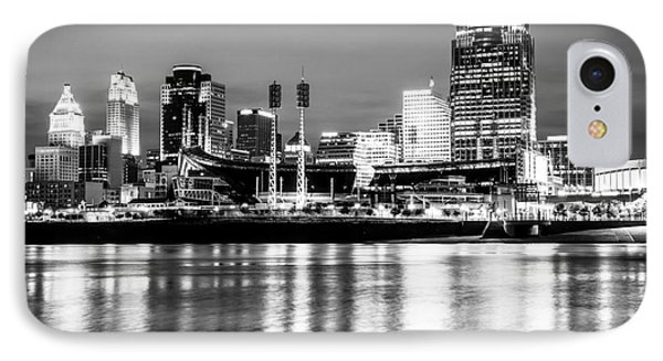 Cincinnati Skyline At Night Black And White Picture IPhone Case by Paul Velgos