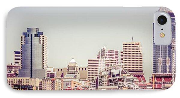 Cincinnati Skyline Retro Panorama Picture IPhone Case by Paul Velgos