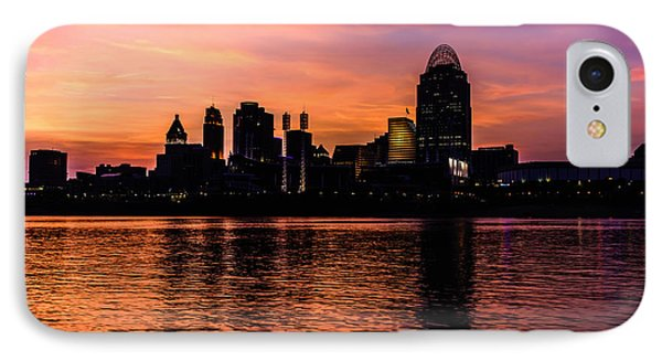 Cincinnati Skyline Sunset At Night IPhone Case by Paul Velgos