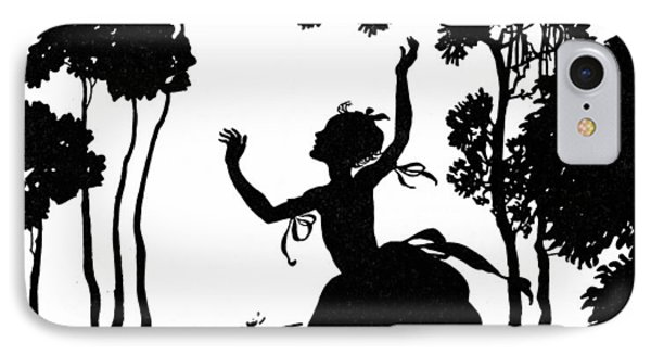 Cinderella Playing With Her Dogs IPhone Case by Arthur Rackham