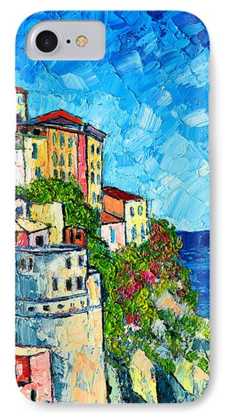 Cinque Terre Italy Manarola Painting Detail 3 Phone Case by Ana Maria Edulescu